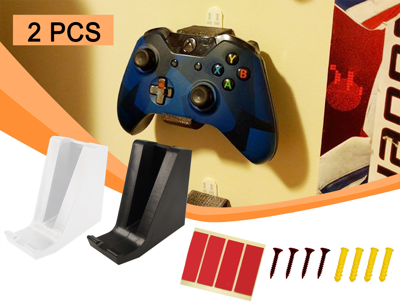 2pcs Wall Stand Holder Mount Bracket Dock Xbox Handles One Game Wireless Controller Gamepad Handle PS4 Storage High Quality