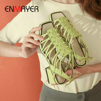 ENMAYER 2020 New High Heel Sandals Genuine Leather Casual Lace-Up Gladiator Sandals Women Basic Narrow Band Women Sandals