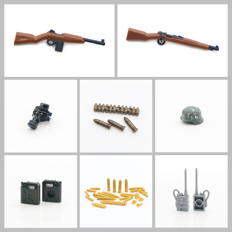 LegoINGlys Military Accessories Blocks WW2 Army Soldier Weapons Box Pack Bullet Radio Armor Mask Bricks Figure Parts Model Toys