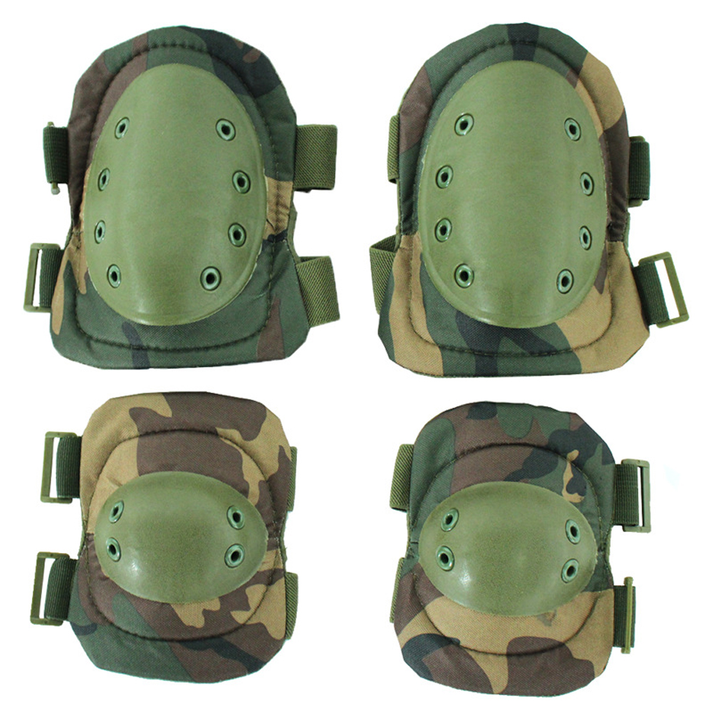 4pcs Outdoor Sports Adult Protective Pad Set Anti Collision Adjustable Straps Soft Shell Hiking Knee Elbow Mountaineering