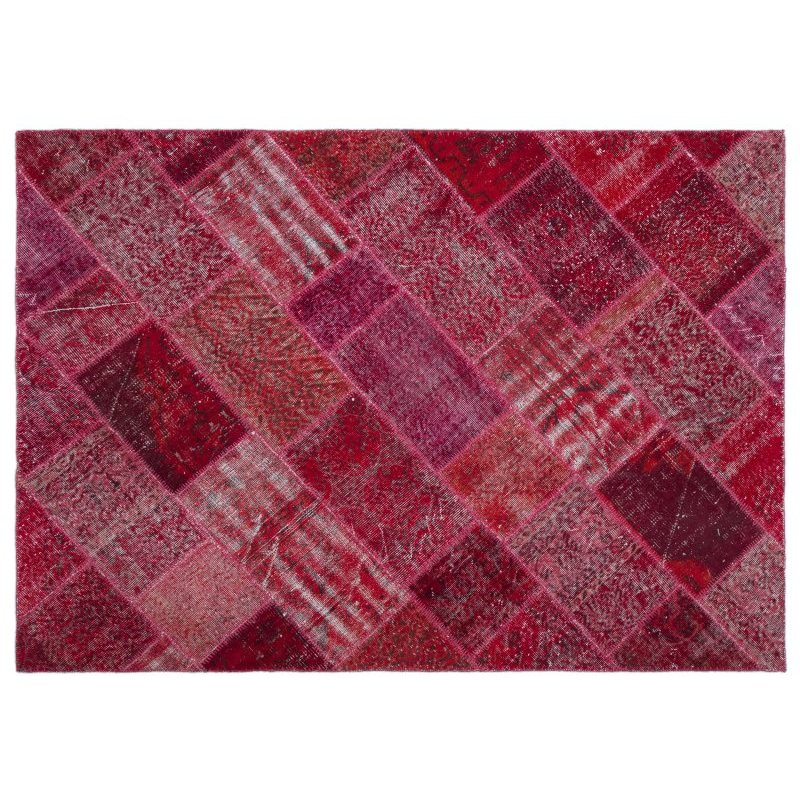Handmade Red Vintage Overdyed Patchwork Area Rug 160x230 Cm-5'3''X7'7''