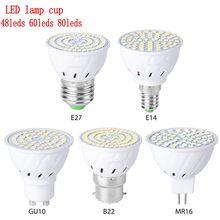 Gu10 led e27 lâmpada e14 spotlight bulbo 48 60 80leds lampara 220v gu 10 bombillas led mr16 b22 lampada luz do ponto
