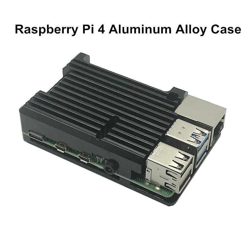 raspberry pi Latest Metal Shell for Raspberry Pi 4 Model B Armor Aluminum Case Black Enclosure Cooling Protective Shell for RPI 4B/ 3B+ (1)