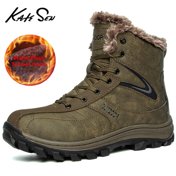 Men's Winter Boots Plush Warm Men's Snow Boots Outdoor Comfortable Men's Ankle Boots Waterproof Hiking Boots Zapatillas Hombre boots borboniqua boots