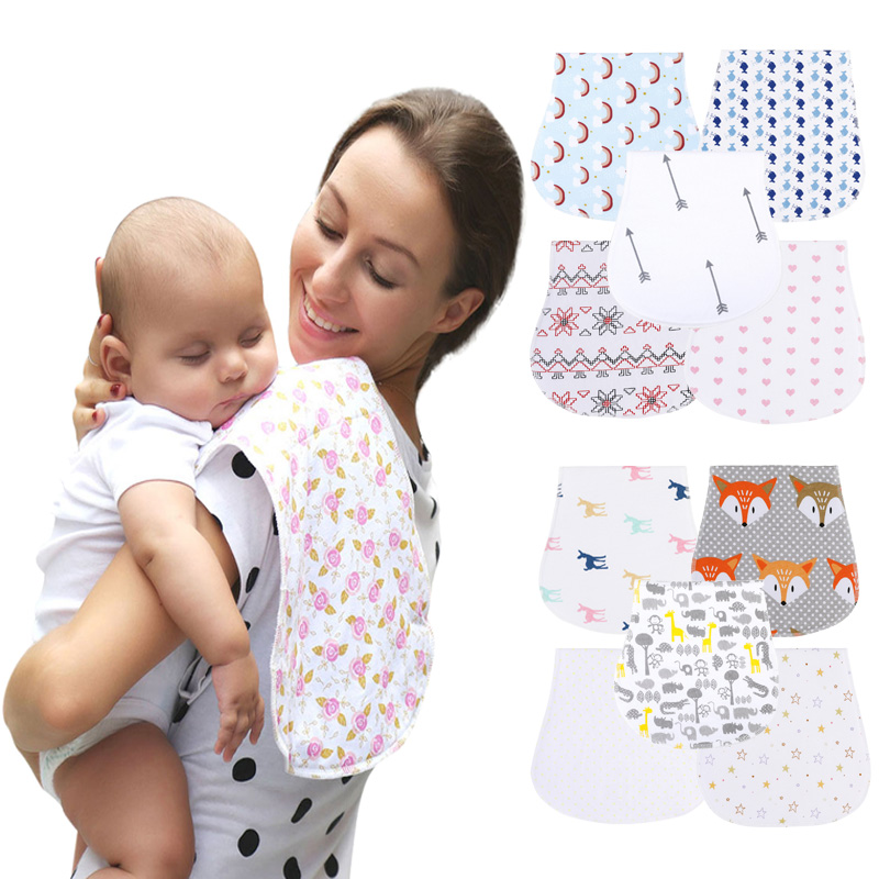 Baby Bibs 100% Cotton Two Layers Boy And Girl Stuff Absarbent Soft Infant Saliva Towel Newborns Accessories Baby Burp Cloths