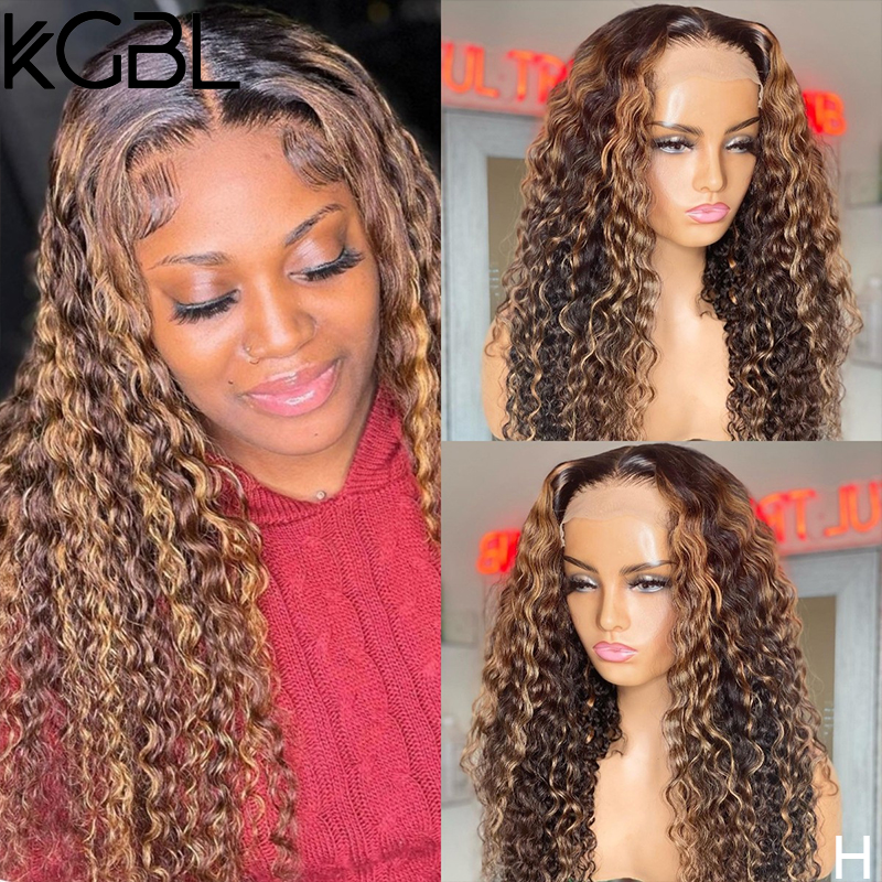 KGBL Highlight Curly 13x4 Lace Front Human Hair Wigs For Women Brazilian 150% Density Non-Remy 8-24'' Pre-Plucked Medium Ratio