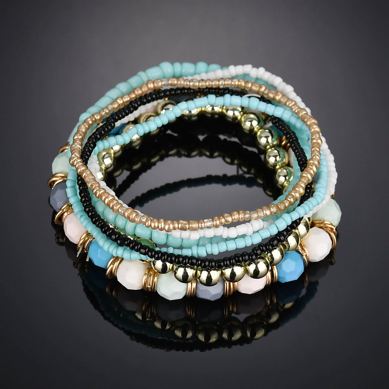 2019 New Bracelets & Bangles Bangle Love Bracelet Bohemia National Wind Beaded Bracelet Beads Mixed Color Elastic Multilayer M