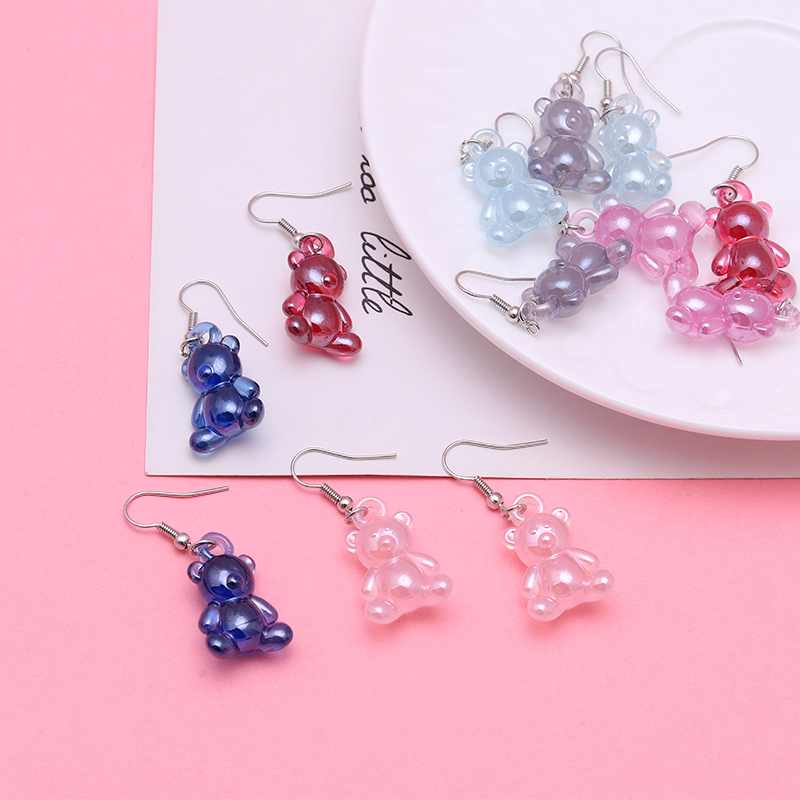 Cartoon Animal Gummy Bear Earrings For Women Lovely Children Drop Earrings Girl Creative Hook Ear Jewelry Handmade Gifts