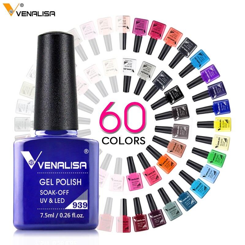 Гель-лак Venalisa маникюрный, растворимый эмалирующий УФ-гель-лак для дизайна ногтей, 60 цветов, 7,5 мл, бесплатная доставка