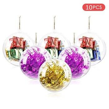 10 teile/los Kunststoff Transparent Hängen Ball Kugel Klar Ornamente Für Handwerk Fillable Hochzeit Party Dekoration