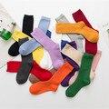 Носки Женские однотонные цветные, милые модные носки в стиле Харадзюку, фиолетовые, розовые, желтые, белые, черные