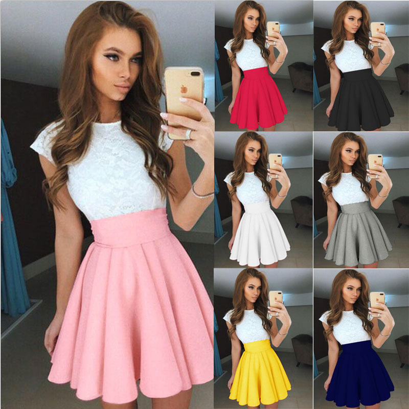 2020 Black Pleated Skirt Sexy Mini Tulle Skirt High Waist Tutu Korean Style Women Pink Skirt Pleated Skirt Solid Women Skirts