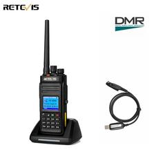 Retevis rt83 dmr digital walkie talkie (gps) ip67 à prova ddustágua uhf dustproof portátil amador rádio em dois sentidos ao ar livre + cabo do programa