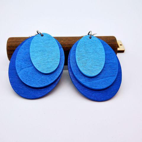 Африканские серьги этнические деревянные висячие синие фиолетовые