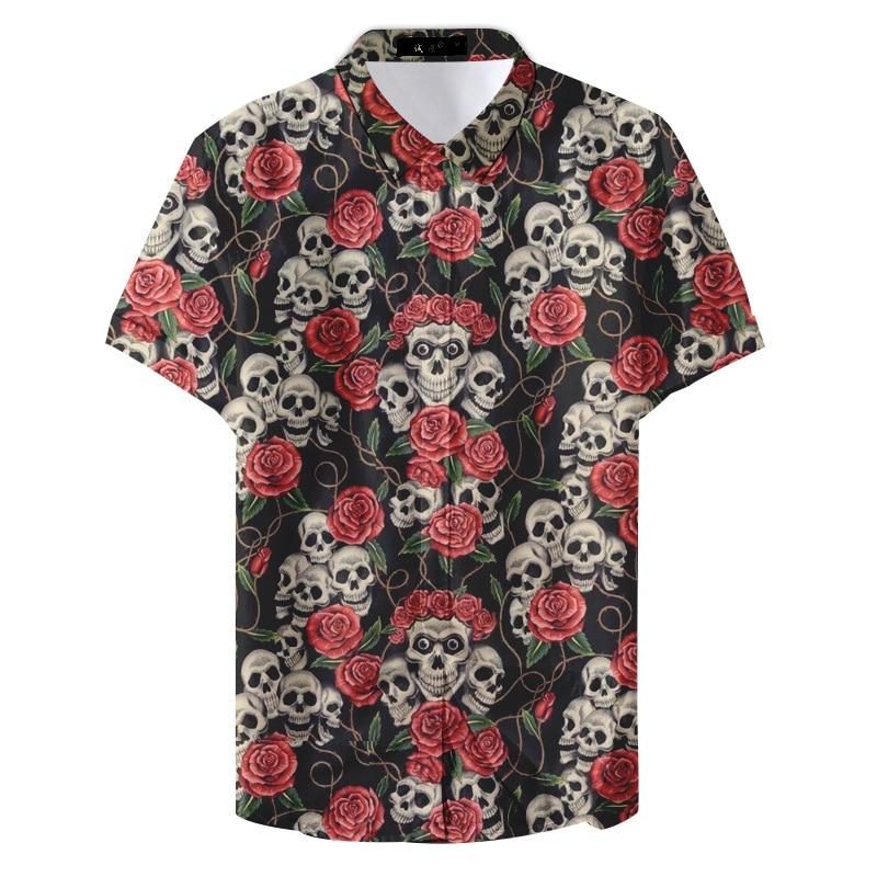 Men's Shirts Have Short Sleeves Men's Beach Shirt Hawaiian Shirt for Men Skull Collection Hawaiian Beach Club Shirt Casual Shirt