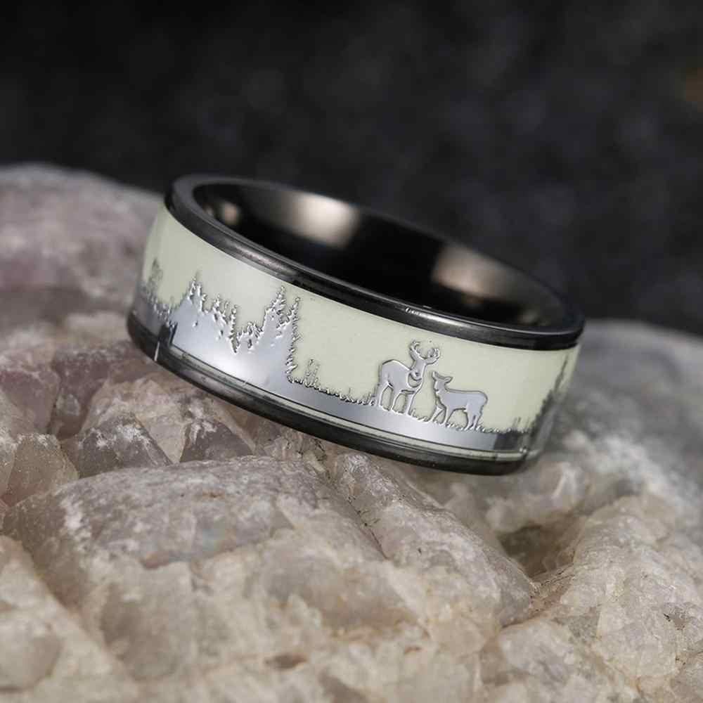 Рождественский подарок лось Титан Сталь светящееся кольцо, Рождество ЭКГ кольцо с лосем орнамент световой светящиеся украшения Сталь Ri K6Y3