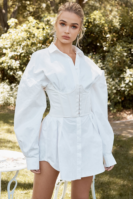 House White &black Cotton Underbust Corset White Cinched Waist Shirt Dress Mini Lady Dress