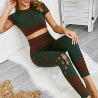 2019 2 Piece Workout Clothes for Women Sports Bra and Leggings Suit Sports Wear for Women Fitness Gym Clothing Athletic Yoga Set