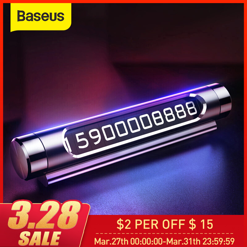 Baseus Luminous Car Temporary Parking Card Holder Car Styling Mobile Phone Number Plate Card Rocker Switch Auto Accessories