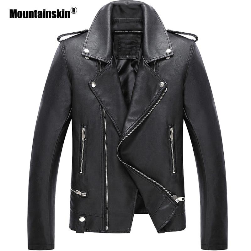 Mountainskin New Men's Leather Jacket Autumn Cool Men Fashion PU Coat Male Short Motorcycle Leather Jacket Brand Clothing SA792