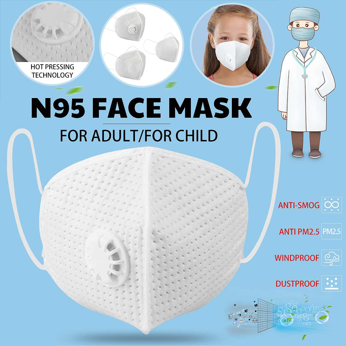 Reusable N95 Mask with Respirator Valve in Thicken Layers Design for Protection from Flu and Virus 1