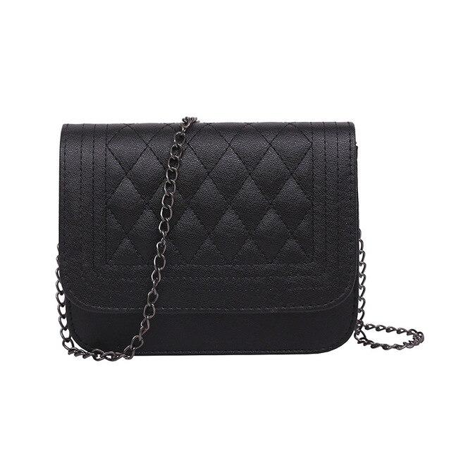 2020 PU Leather Women Messenger Bag Plaid Ladies Crossbody Bag Chain Trendy Candy Color Small Flap Shopping Handbag