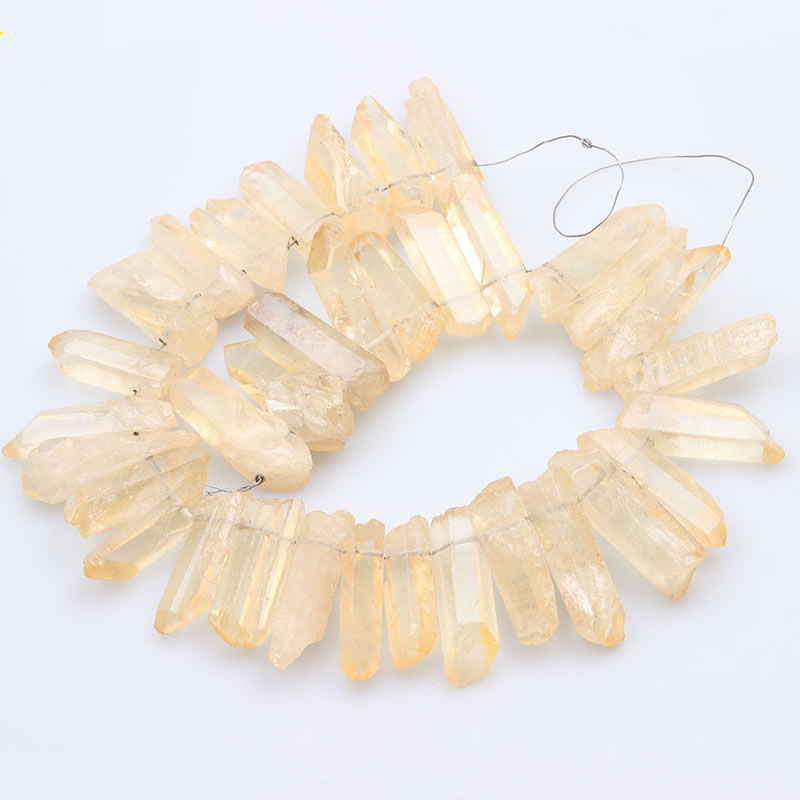 Natural Citrines Quartz Top Drilled Slice Loose Beads,Yellow Crystal Stone Slab Pendant Necklace Jewelry Making 15.5