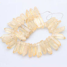 Natural Citrines Quartz Top Drilled Slice Loose Beads,Yellow Crystal Stone Slab Pendant Necklace Jewelry Making 15.5  strand