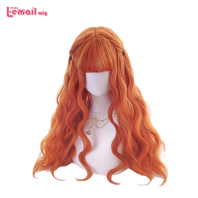 L email Wig Long Orange Lolita Wigs Woman Hair Wavy Cosplay Wig Halloween Harajuku Wigs Heat Resistant Synthetic Hair