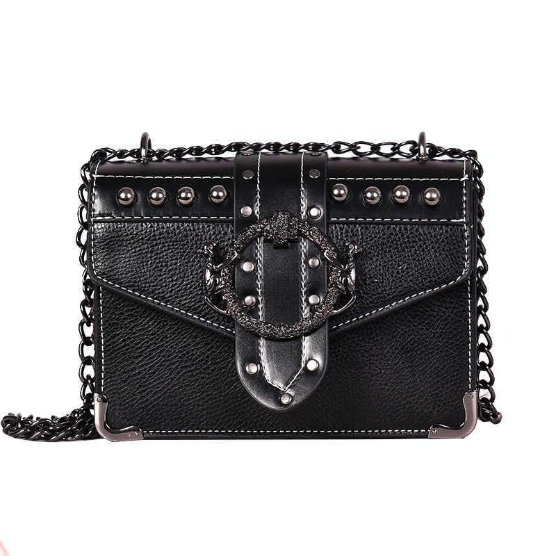 Модная женская квадратная сумка YL, новая качественная женская дизайнерская сумка из искусственной кожи, сумки-мессенджеры на плечо с заклепками и цепочкой