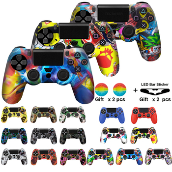 18 Colors Soft Silicone Rubber Skin Case For PS4 Gamepad Protective Cover For Sony Play Station4 Pro Slim Controller Camo Style 1