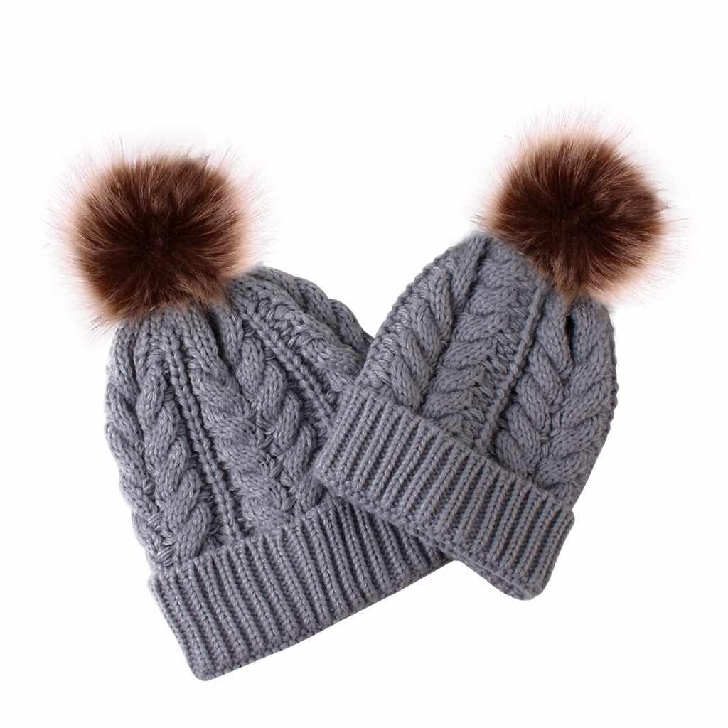 หมวกเด็ก 1 ชุด 2pcs แฟชั่นแม่และเด็กถักอุ่นหมวก 2019 ใหม่ล่าสุด 4 รุ่น 5 สีฤดูหนาวหมวกเด็กอุปกรณ์เสริม