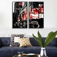 Urban Style Canvas Oil Painting Red Big Screen Street View Poster And Printing For Living Room Art Wall Home Decoration 2 Pcs