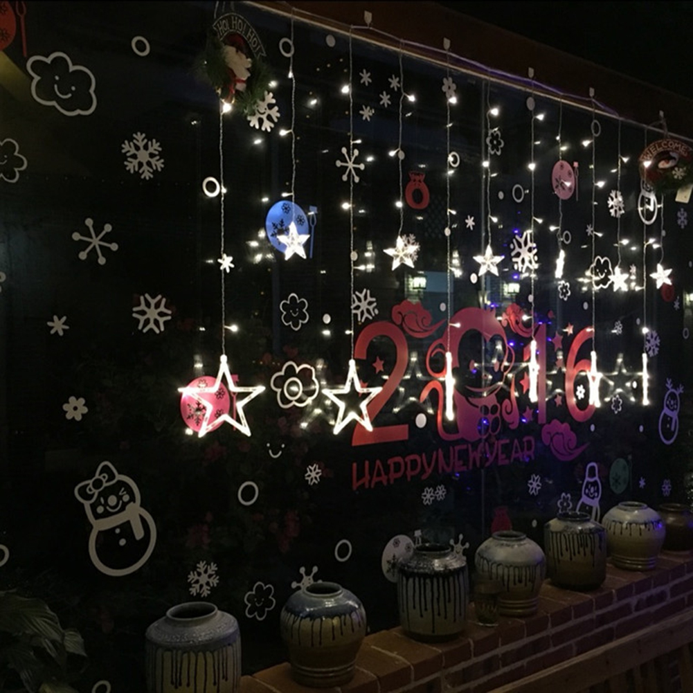 Image 4 - 2020 New LED String Lights Pentagram Star Curtain Light Fairy Wedding Birthday Christmas Lighting Indoor Decoration Lights 220V-in Pendant & Drop Ornaments from Home & Garden