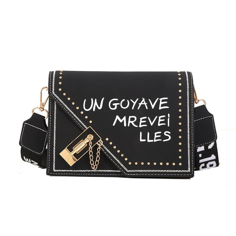 Frosted Letter Single Shoulder Bag Plug Lock Rivet Handbag With Strap For Women Girls Best Sale-WT