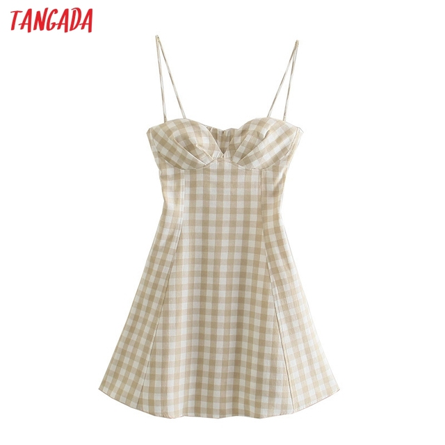 Tangada Women Plaid Print Summer Dress Sleeveless Backless 2021 Summer Fashion Casual Dresses Vestido 4N71 1