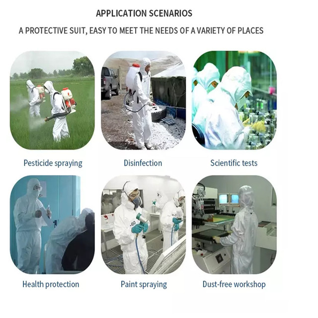 Disposable Coverall Hazmat PPE Suit Dust free Factory Workshop Protective Clothing Hospital Health Protection Safety Clothing 1