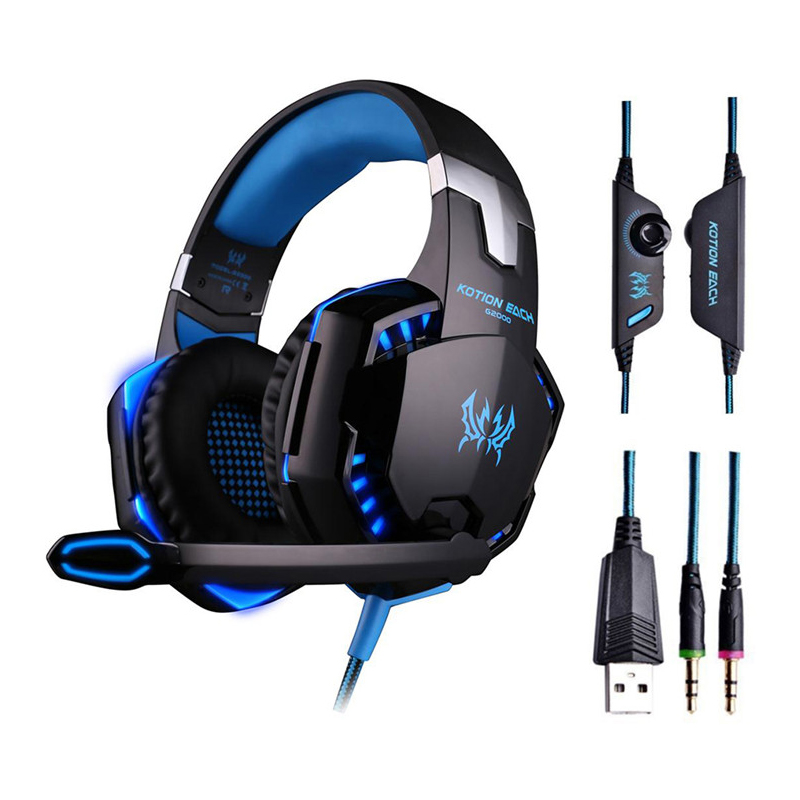 KOTION EACH G2000 Gaming Headphones Gamer Earphone Stereo Deep Bass Wired Headset With Mic LED Light For PC PS4 X-BOX
