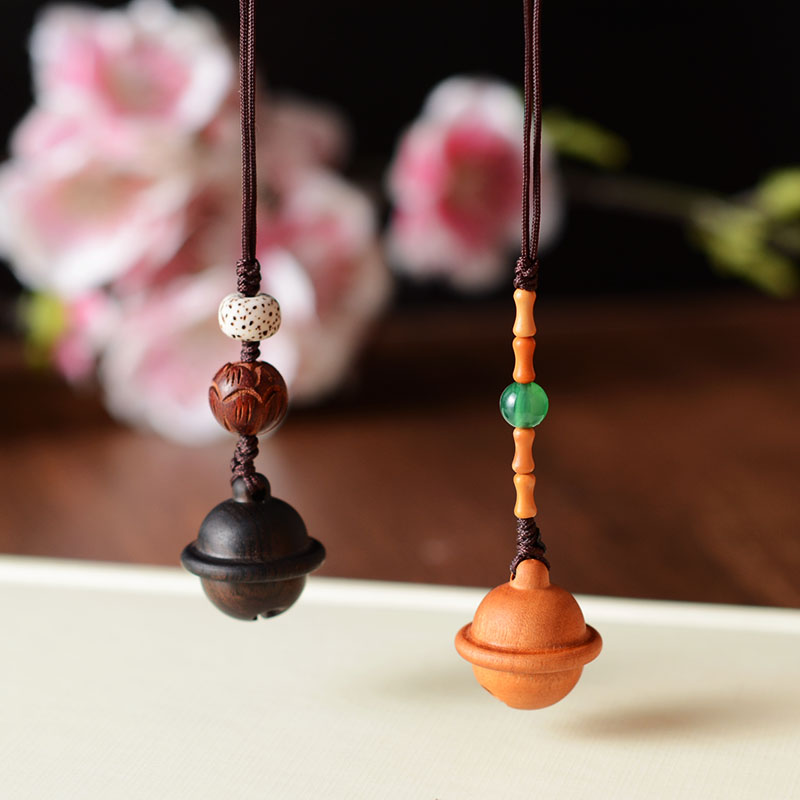 Vintage Ethnic Handmade Wood Ball Keychains Keyring Bell Key Chain Handbag Key Ring Wood Pendant Phone Straps image