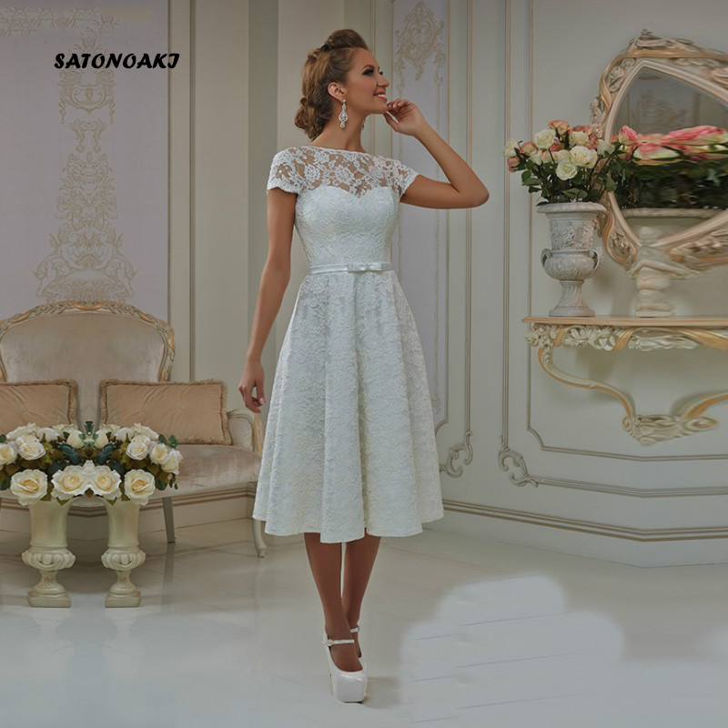 SATONOAKI  2019 Short Wedding Dress With Cap Sleeves A Line Tea Length Bow Sashes O-Neck Lace Up Vestidos Robe De Mariee Retro