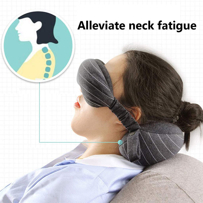 New Design Business Travel Pillow Neck With Eyes Mask Storage Bag 70g Portable Comfortable For Airplane Office Car Neck Pillow