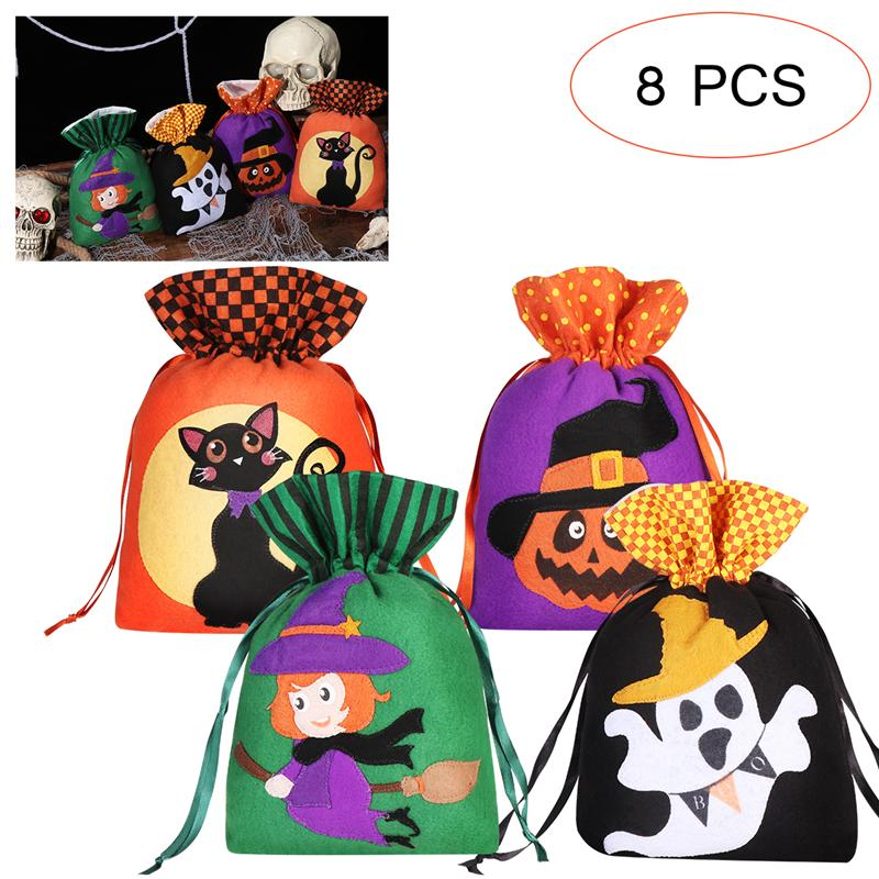 Lined with Appliqued Surprised Ghost and Nylon Cord Handles Trick or Treat Goodie Bag 18x28cm,