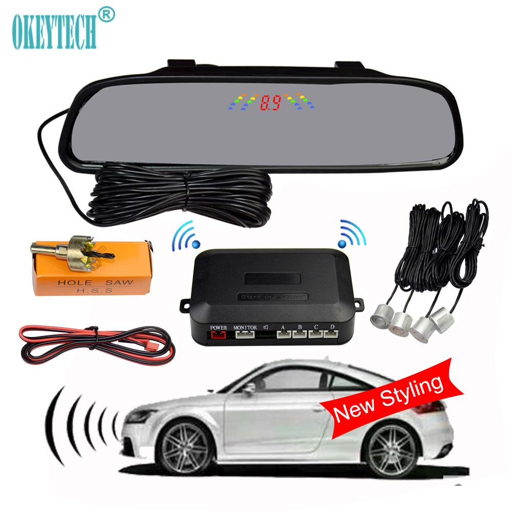 OkeyTech New Styling Parking Mirror Digital Auto Parking Radar System With 4 Sensors LED Display Car Parking Sensor Kit