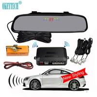 OkeyTech New Styling Parking Mirror Digital Auto Parking Radar System With 4 Sensors LED Display Car Parking Sensor Kit