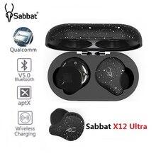 Sabbat auriculares intrauditivos x12 Ultra TWS, inalámbricos por Bluetooth V5.0, Qualcomm Aptx, auriculares HiFi estéreo deportivos con cargador