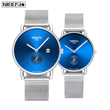 Relogio Masculino NIBOSI Lovers Quartz Watch for Women Men Relogio Feminino Couple Mesh Watch Top Brand Luxury Gift Women Watch