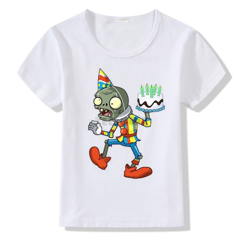 Children Birthday T-shirt Cartoon Plants VS Zombies Print T Shirt Kids Boys Girls Summer Tshirt Tops Short-sleeved White Shirts