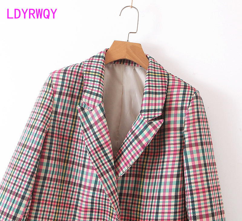 2019 early autumn new two-button plaid suit jacket female Double Breasted  Notched  Full  Regular