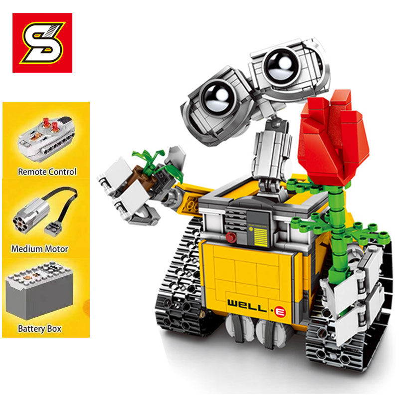RC télécommande mur E Robot Figure blocs de construction briques modèle jouets Compatible avec 16003 LGset Technic 21303