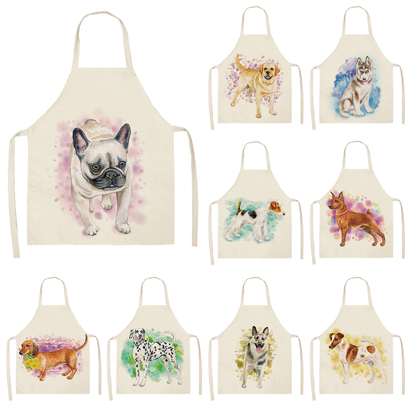 Dog Pug Kitchen Sleeveless Aprons For Women Cotton Linen Bibs Household Cleaning Pinafore Home Cooking Apron 53*65cm WQL0199